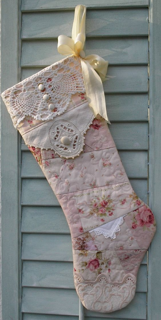 quilted shabby chic christmas stocking handmade christmas