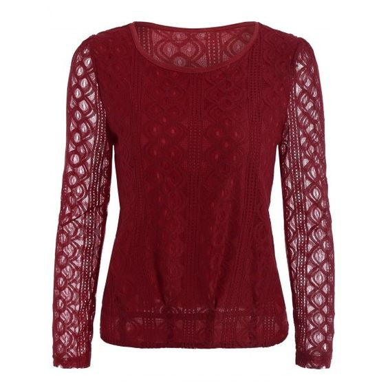 16.58$  Buy now - http://dijmu.justgood.pw/go.php?t=207631604 - Long Sleeve Slimming Lace Blouse