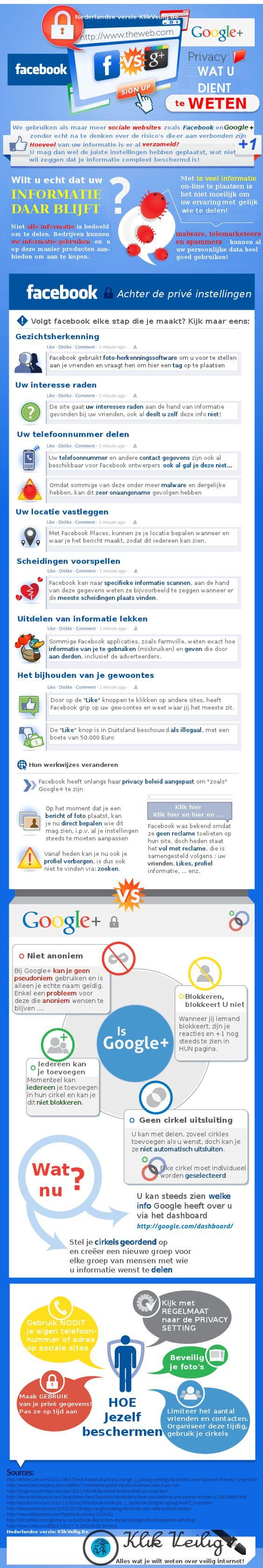 Facebook versus Google+ infographic - Media en #Technologie in het #Onderwijs | Peter Lakeman | #privacy