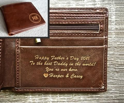 The Perfect Mens Gift Fathers Day Gift Personalized Gifts for Men Leather Wallet Boyfriend Gift Groomsmen Gift Personalized Mens Wallet a Bifold wallet with ID sleeve