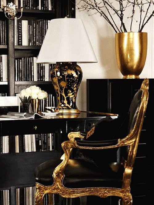 gold black chair