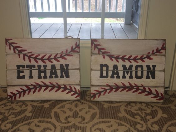 Baseball signs I made for the nephews' bedrooms. Pallet sign