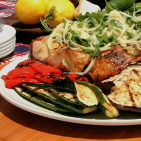 Jason Roberts' Chicken Gina with Grilled Vegetables.