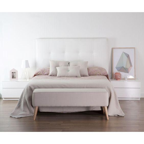 Dyon cabecero tapizado en tela casa y ropa de cama - Cabecero cama tela ...