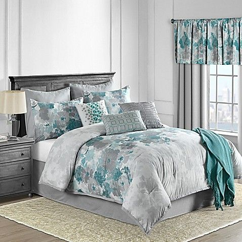Claire 10 Piece Comforter Set In Teal Bed Bath Beyond
