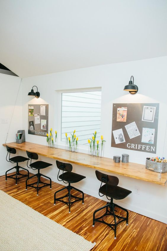 This work area, formerly part of the original kitchen, provides an ideal space for kids' craft projects and homework.