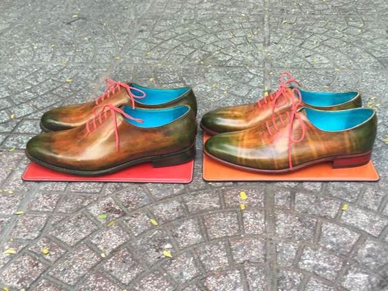 Dominique Saint Paul - two of a kind - hand coloured crust leather - four colours with patina