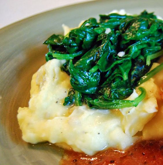 Garlic spinach, Mashed potatoes and Spinach on Pinterest