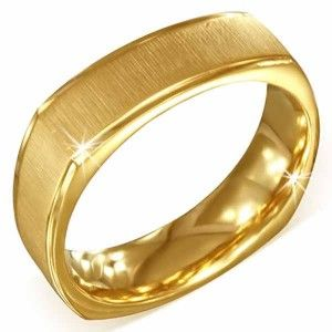 Men's Gold Plated Stainless Steel Satin Finish Square Shape Ring