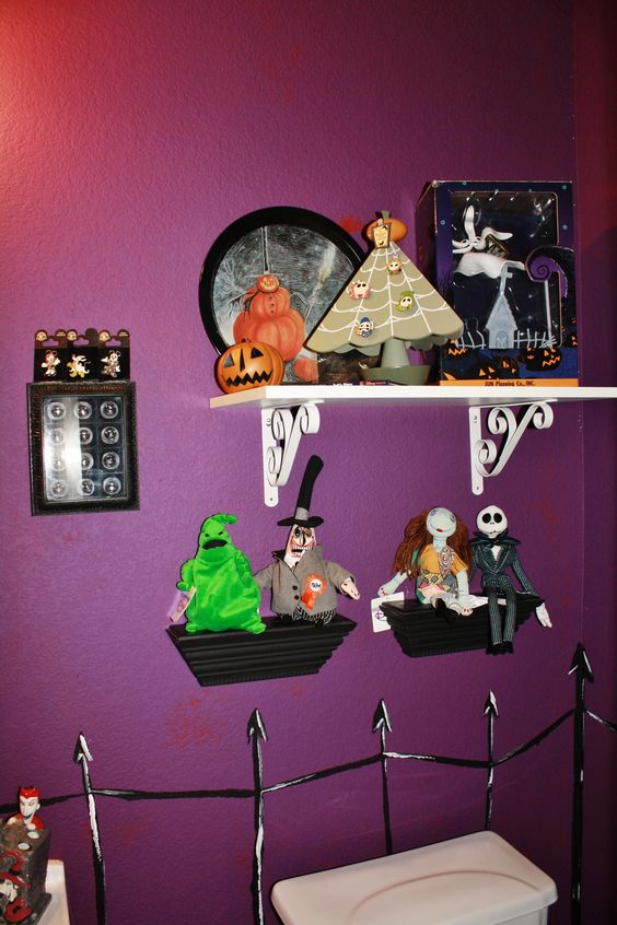 My Nightmare Before Christmas bathroom. My hubby painted the walls and the rest is my collection of over 10yrs!