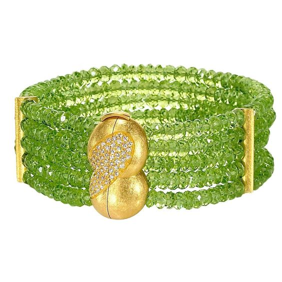 Eva Steinberg Germany Green Peridot Diamond Multistrand Artisan Bracelet