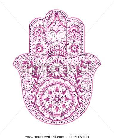 Mano de fatima mandala hamsa diseño morado