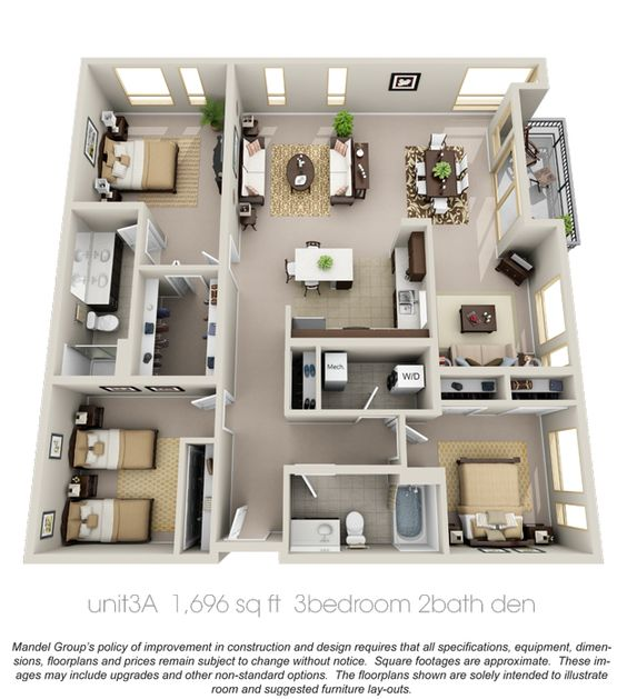 50 Three 3 Bedroom ApartmentHouse Plans Apartment floor plans