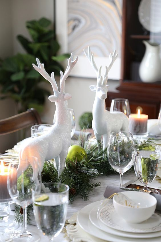 Holiday home decor idea: make a rustic, elegant Christmas Centerpiece for a festive dining table.