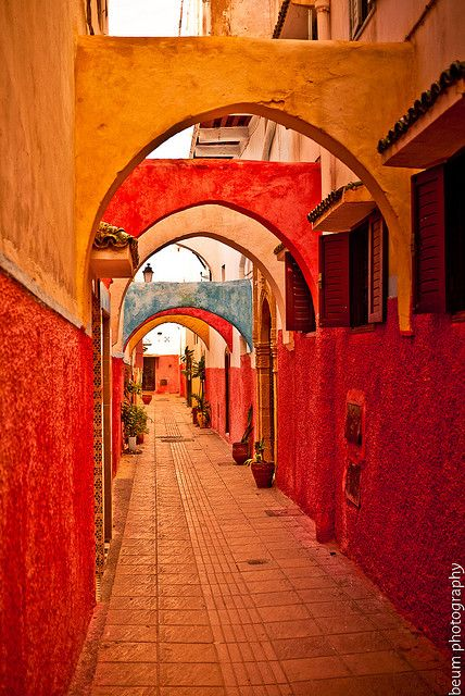 Morocco: Moroccan Archways, Colorful Passageway, Morocco Arches, Beautiful Arches, Red Orange, Discount Morocco, Color Orange