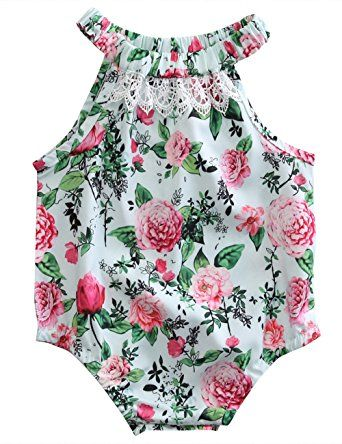 Ruffle Sleeveless Baby Girl Floral Romper Bodysuit Jumpsuit Outfits Clothes