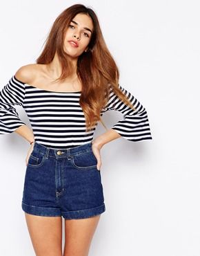 Glamorous Crop Top With Fluted Sleeve