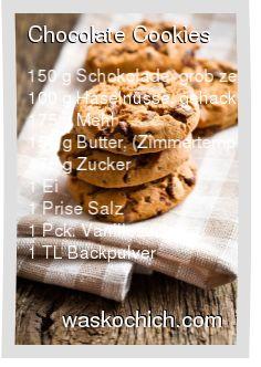 150 g Schokolade, grob zerkleinert 100 g Haselnüsse, gehackt 175 g Mehl 150 g Butter, (Zimmertemperatur) 175 g Zucker 1 Ei 1 Prise Salz 1 Pck. Vanillezucker 1 TL Backpulver