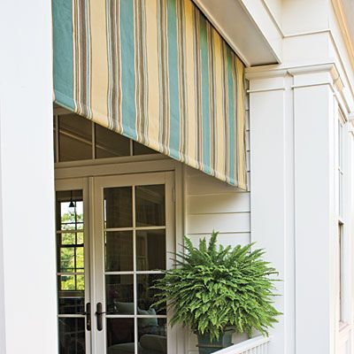 "I am in absolute LOVE with this awning!!!  ""A retractable awning by Tri Vantage with Sunbrella fabric keeps the porches shaded, which is always welcome during Georgia's summers. Awning Fabric: Spa/Wheat Vintage by Sunbrella (sunbrella.com)"""