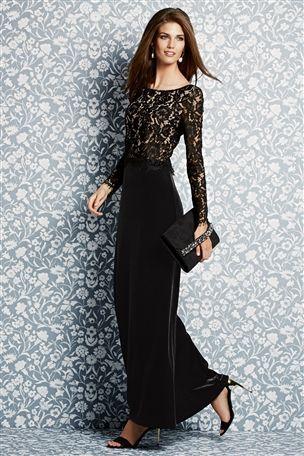 Buy Black Velvet Maxi Dress from the Next UK online shop  Letter ...