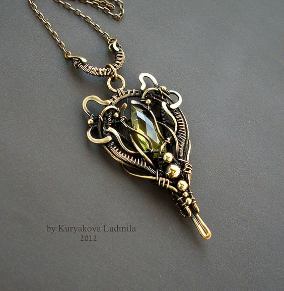 LOTOS wire wrapped brass pendant with bohemian glass by KL-WireDream on deviantART