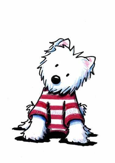 RACCOLTA IMMAGINI - Art: Westie Terrier Dog In Stripes by Artist KiniArt