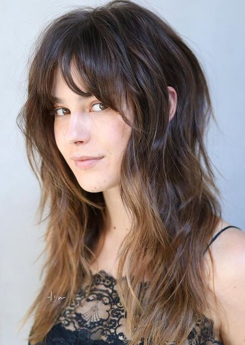 Latest Long Shaggy Hairstyles With Bangs For Girls And Women To Look Glamorous In 2020 In 2020 Long Shag Haircut Modern Shag Haircut Long Thin Hair