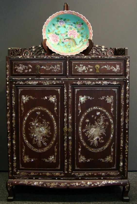 mother of pearl oriental furniture mother of pearl side cabinet rm2800000 amazoncom oriental furniture korean antique style liquor