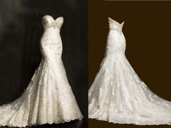 2015 Spring Vintage Wedding Dresses Mermaid Lace Custom Made Plus Size Chapel Train Beads Trumpet Wedding Gowns Sexy Beach Wedding Dresses, $140.91   DHgate.com