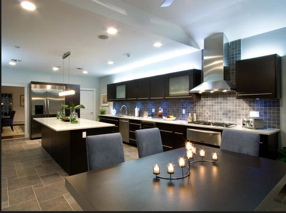 Huge ultra modern kitchen looks like it would match our for Big game room