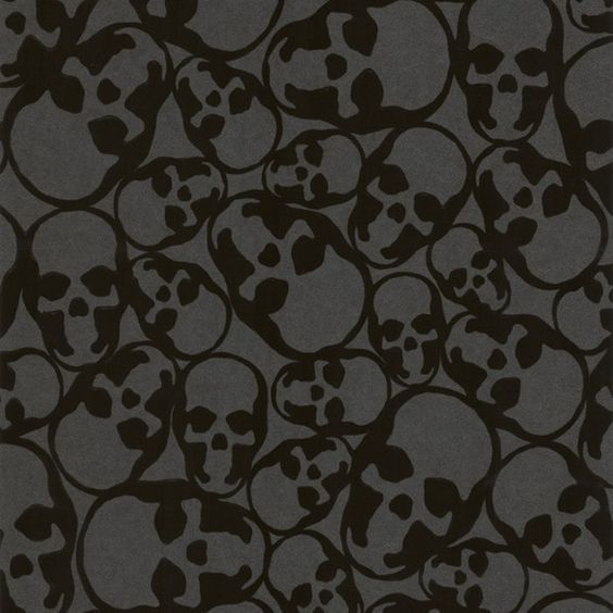 Sample Skulls Flocked Wallpaper in Black by Barbara Hulanicki for... ($10) ❤ liked on Polyvore featuring home, home decor, wallpaper, backgrounds, filler, art, pictures, flock wallpaper, skull wallpaper and skull home decor