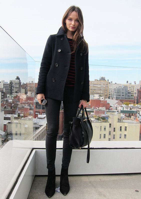Stand out among other stylish civilians in a black pea coat and black slim jeans. Why not introduce black suede booties to the mix for an added touch of style?   Shop this look on Lookastic: https://lookastic.com/women/looks/pea-coat-crew-neck-sweater-skinny-jeans/16211   — Black Horizontal Striped Crew-neck Sweater  — Black Pea Coat  — Black Skinny Jeans  — Black Leather Tote Bag  — Black Suede Ankle Boots