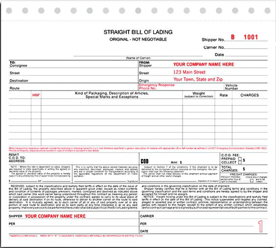 Bill Of Lading oficina Pinterest - printable bill of lading short form