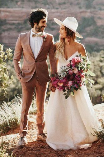 Stylish Groom Attire For Bohemian Wedding ★  groom attire brown jacket with bow tie boutonniere