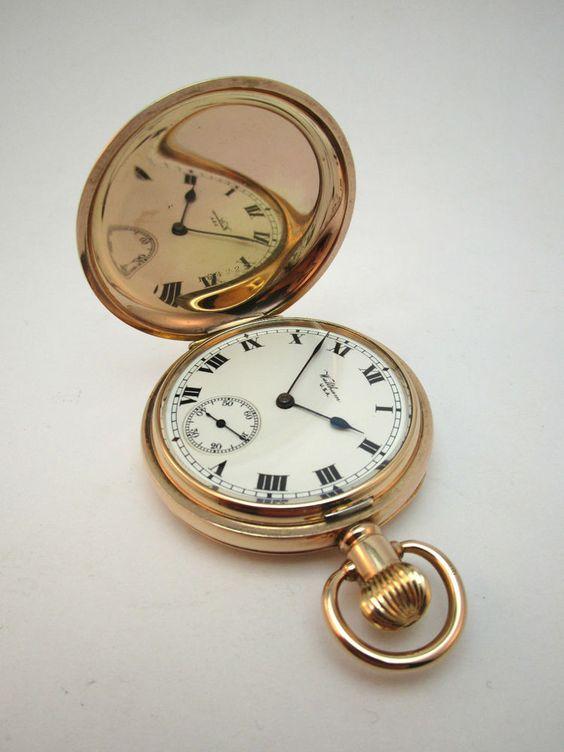 ANTIQUE c1903 RIVERSIDE WALTHAM HUNTER POCKET WATCH, 14K GOLD /F DENNISON CASE