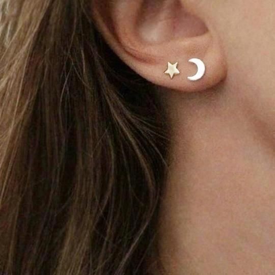 Teens GIFT BOX .925 Sterling Silver Crescent Moon and Star Front and Back Earrings for Girls Ladies