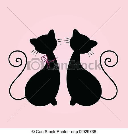 Juntos Silueta, Sentado Juntos, Gatos Pareja, Lindo Gatos, Gato Imagen, 00013 Siluetas, Gatos Estilizados, Gatos Buscar, Buscar Con