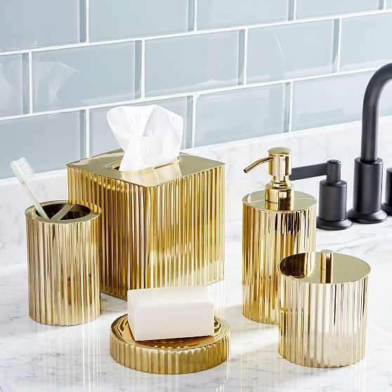 Fluted Metal Bath Accessories Polished Brass In 2020 Gold Bathroom Accessories Polished Brass Bath Accessories