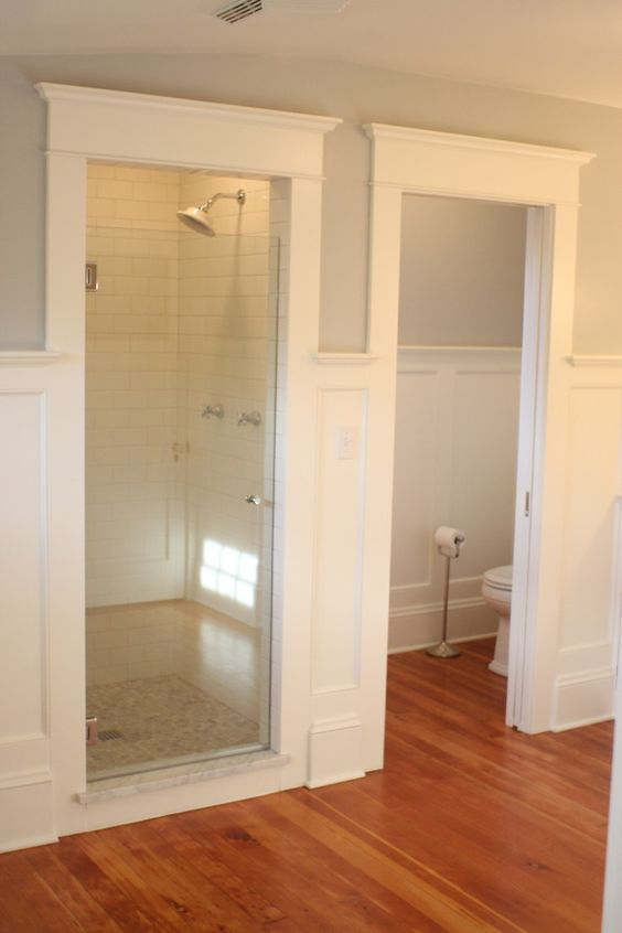 Separate toilet and shower/bathtub rooms allow kids to use the toilet/sink/mirror while their sibling is taking forever in the shower. This is genius!