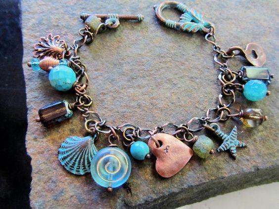 Bohemian Beaded Charm Bracelet  Aqua by BlueArtichokeDesigns, $36.00