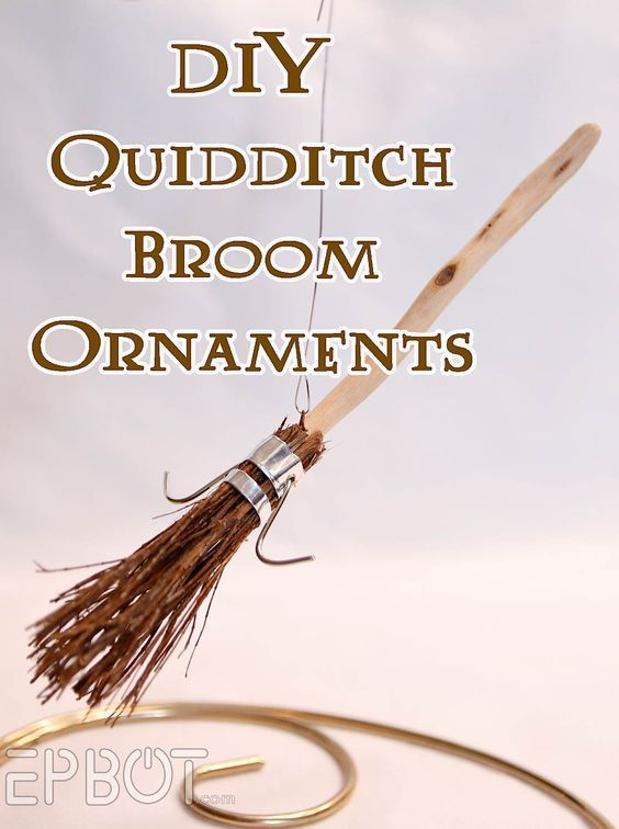 Make these cute Harry Potter Quidditch Broom Ornaments to hang on your Christmas tree!