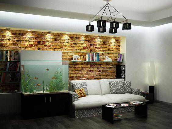 Luxury Fish Tank Living Room Ideas With Plant Decor Idea Plus Book Shelves  Beside Aquarium Then Stone Effect Wall Also Black Pendant Lamp Above Blau2026 Part 38