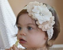 Bebé Bautizo diadema, florista diadema, marfil y crema de arco, el arco de marfil, diadema bautismo, diadema recién nacido, bandas para la cabeza, vintage