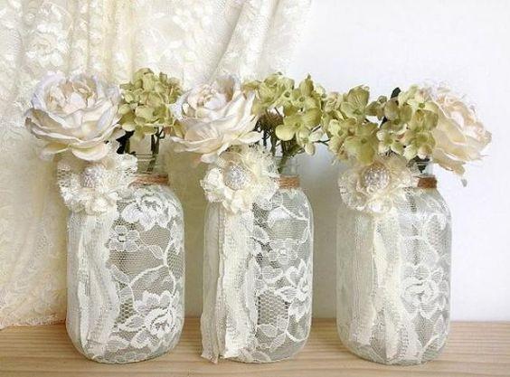 3 ivory lace covered jar vases - bridal shower decoration , wedding decor, home decoration  gift or for you