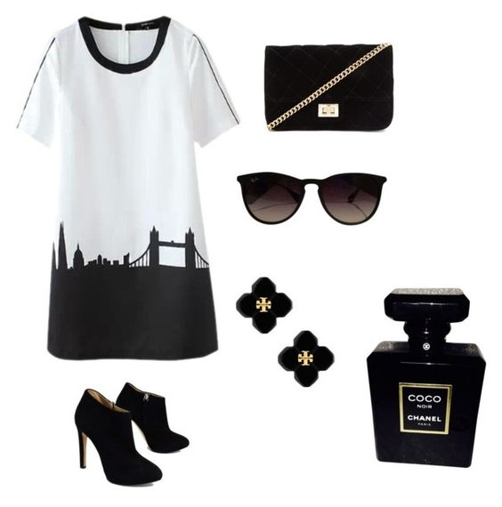 """Business casual"" by maycav ❤ liked on Polyvore featuring Giuseppe Zanotti, Forever 21, Ray-Ban, Tory Burch and Chanel"