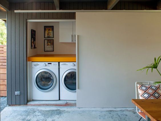 conceal your laundry out of doors or downstairs in garage
