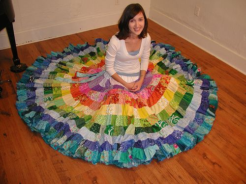 rainbow patchwork skirt. i want one! especially with all the extra ruffle at the bottom.