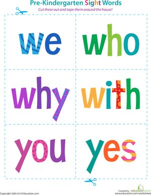 Pre-Kindergarten Sight Words: We to Yes | Pinterest | Dr. who ...