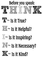 Before you speak: THINK black and white #printable