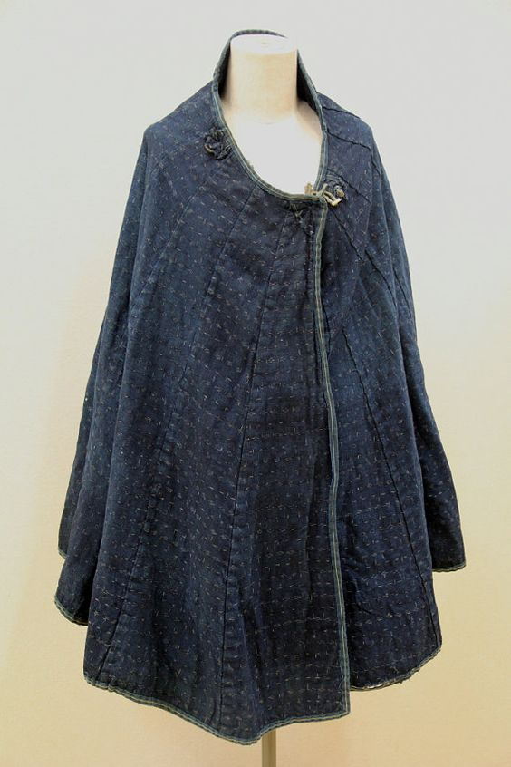 Vintage japonais kasuri indigo pluie cort